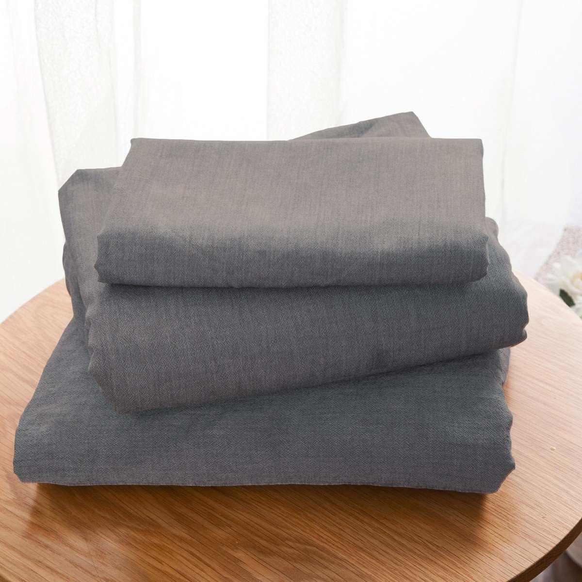 Drap Plat Uni Coton Lave Gris | Linge de lit | Tradition des vosges