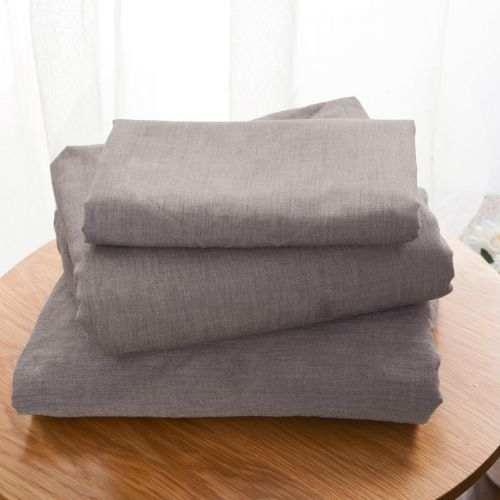 Drap Plat Uni Coton Lave Taupe | Linge de lit| Tradition des vosges