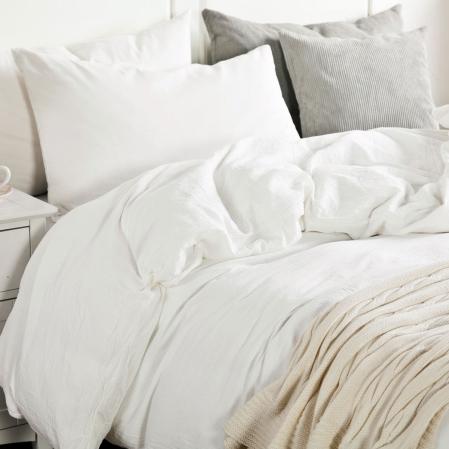 Housse Couette Uni Coton Lave Blanc