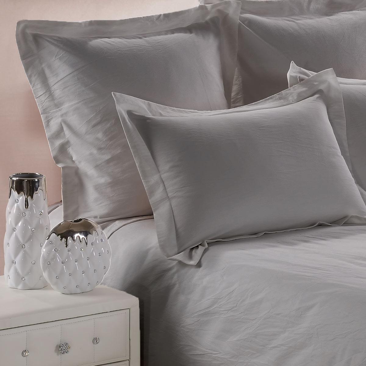 Taie Oreiller Uni Coton Lave Gris | Linge de lit | Tradition des vosges