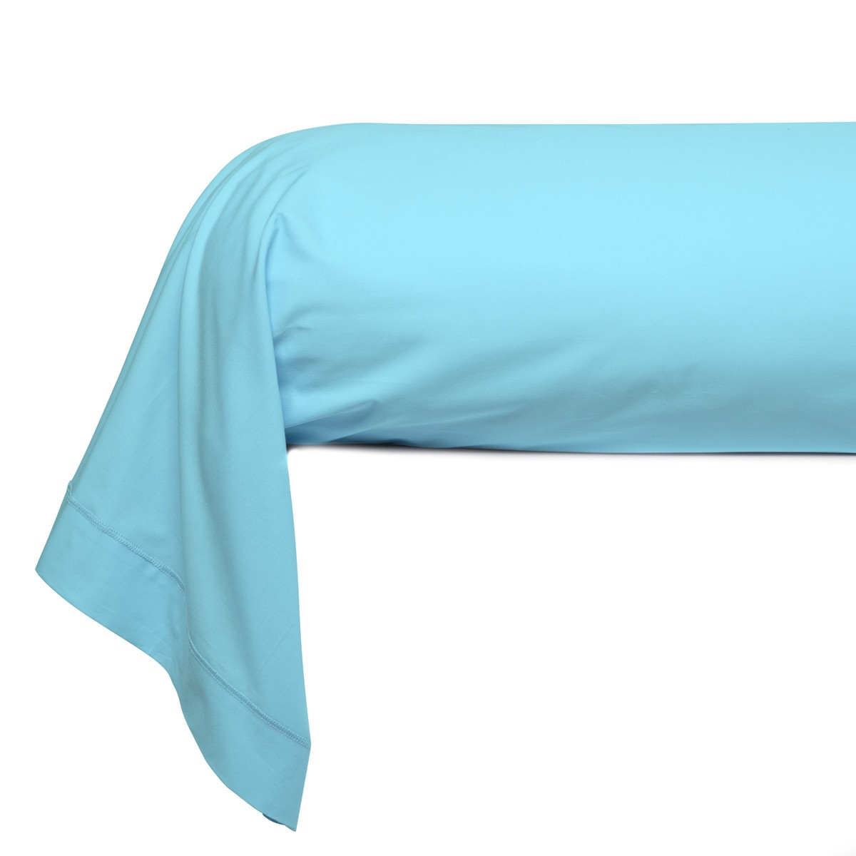 Bolster Solid Color Percale turquoise   Bed linen   Tradition des Vosges