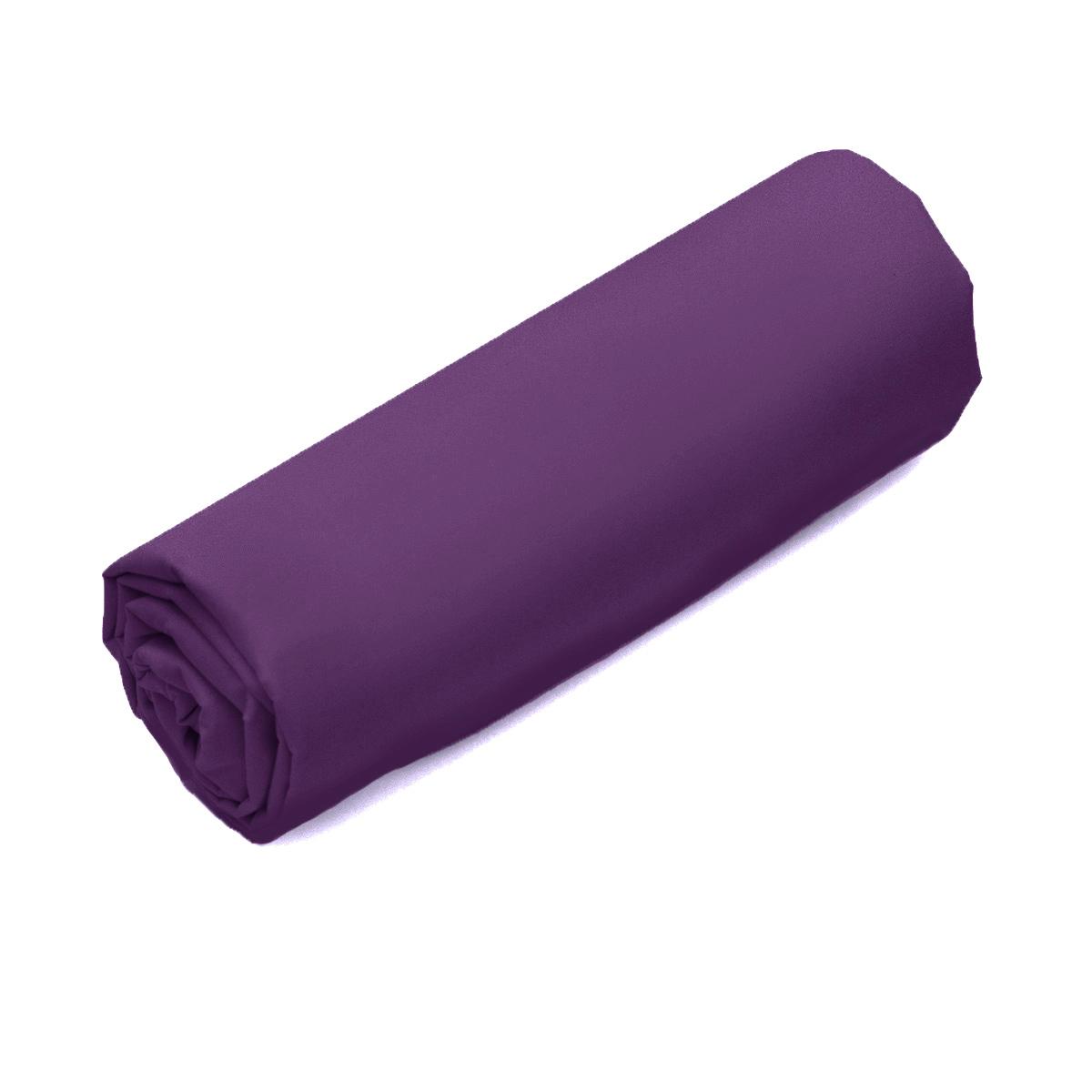 Drap-housse Double Uni Percale Violet   Linge de lit   Tradition des Vosges