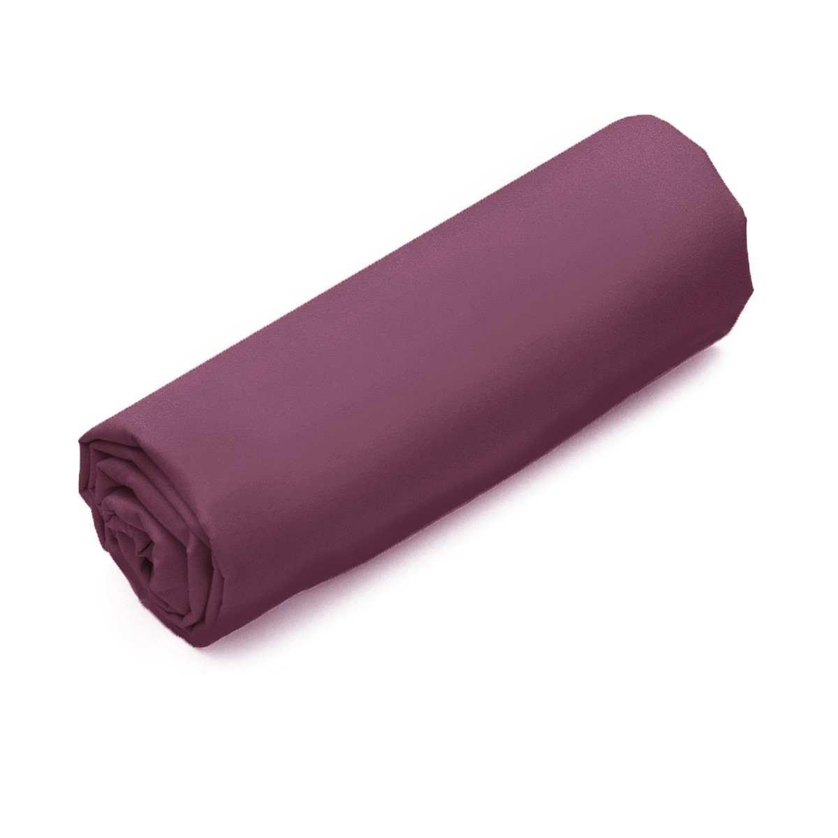 Drap-housse Uni Percale Prune | Linge de maison | Tradition des vosges