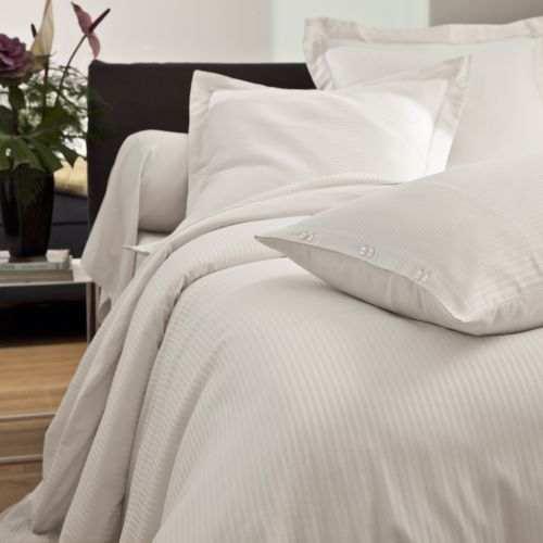 Bed linen set Satin Jacquard white   Bed linen   Tradition des Vosges