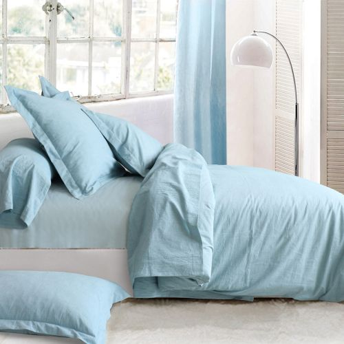 Washed cotton bed linen set turquoise | Bed linen | Tradition des Vosges