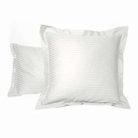 Taie d'oreiller Satin Couture Jour Venise Blanc | Linge de lit | Tradition des vosges