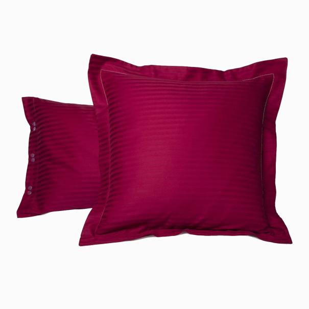 Taie d'oreiller Satin Couture Jour Venise Cherry | Linge de lit | Tradition des vosges