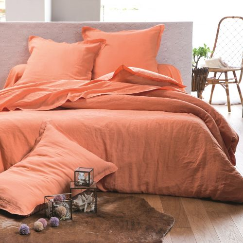 Washed Cotton Bed Linen Set Orange | Bed Linen | Tradition Des Vosges