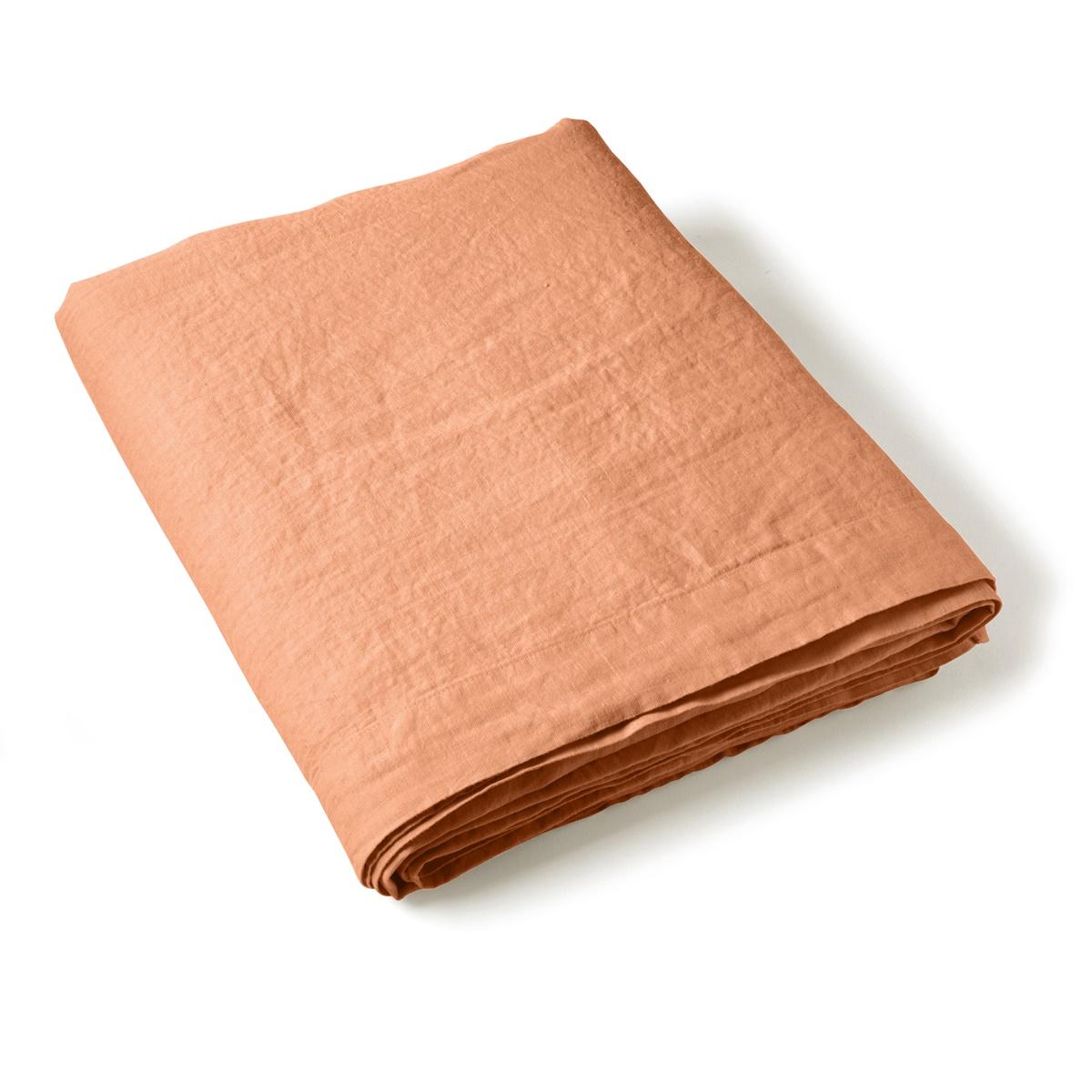 Flat Sheet Washed Linen orange | Linge de lit | Tradition des Vosges