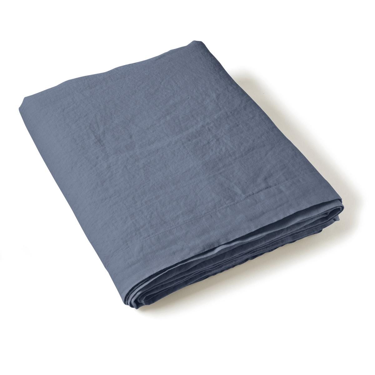 Flat Sheet Washed Linen blue   Linge de lit   Tradition des Vosges
