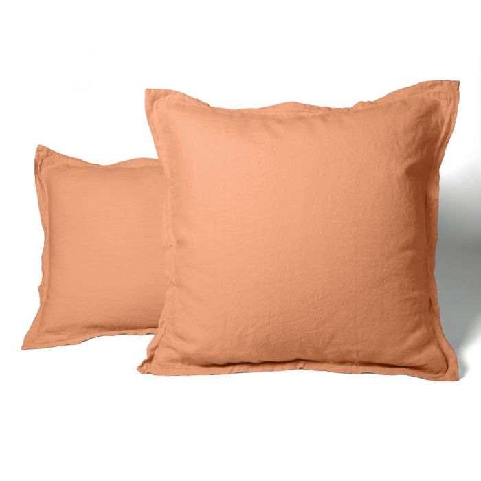 Pillow case washed linen orange | Linge de lit | Tradition des Vosges