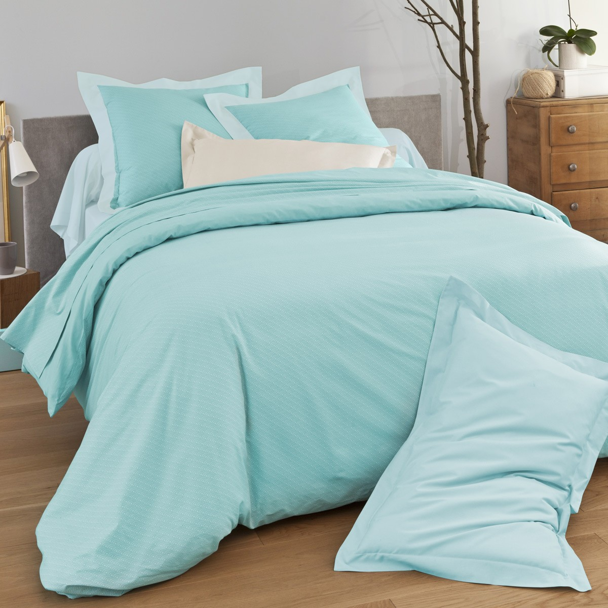 Parure dream blue linge de lit de qualit tradition for Housse couette om
