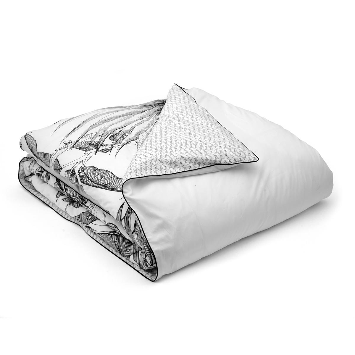 Housse De Couette Noir Blanc Gris tropical duvet cover | house linen | tradition des vosges