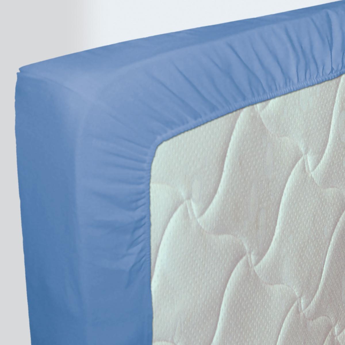 Drap-housse Uni 100% Coton Nuit des Vosges Bleu Nattier