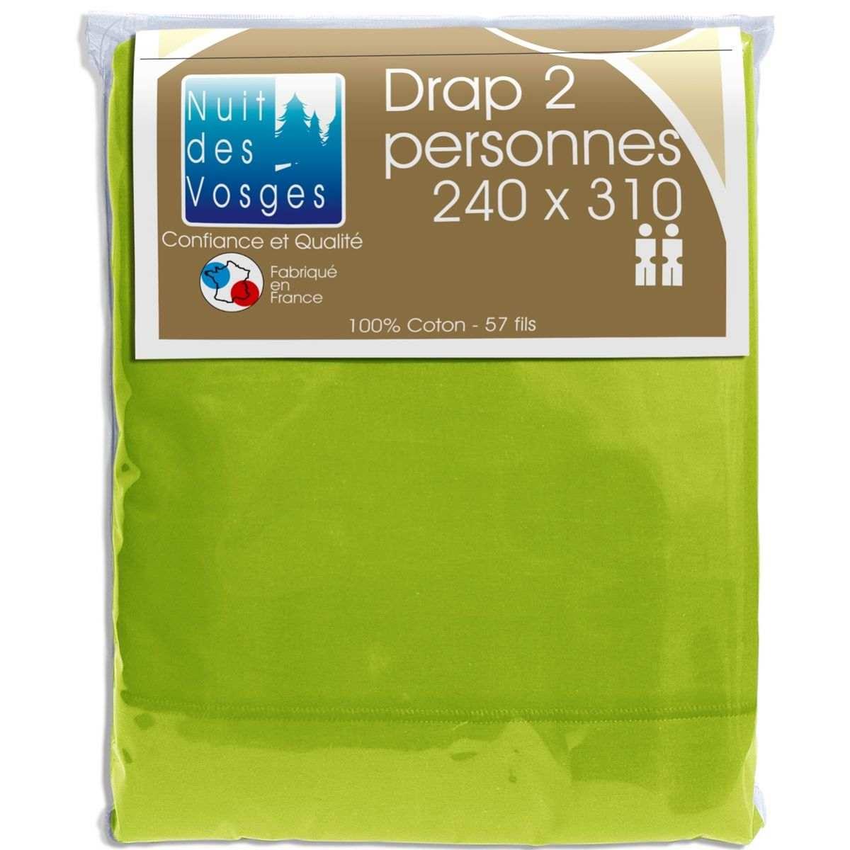 Drap Plat 100% Coton Nuit des Vosges Anis