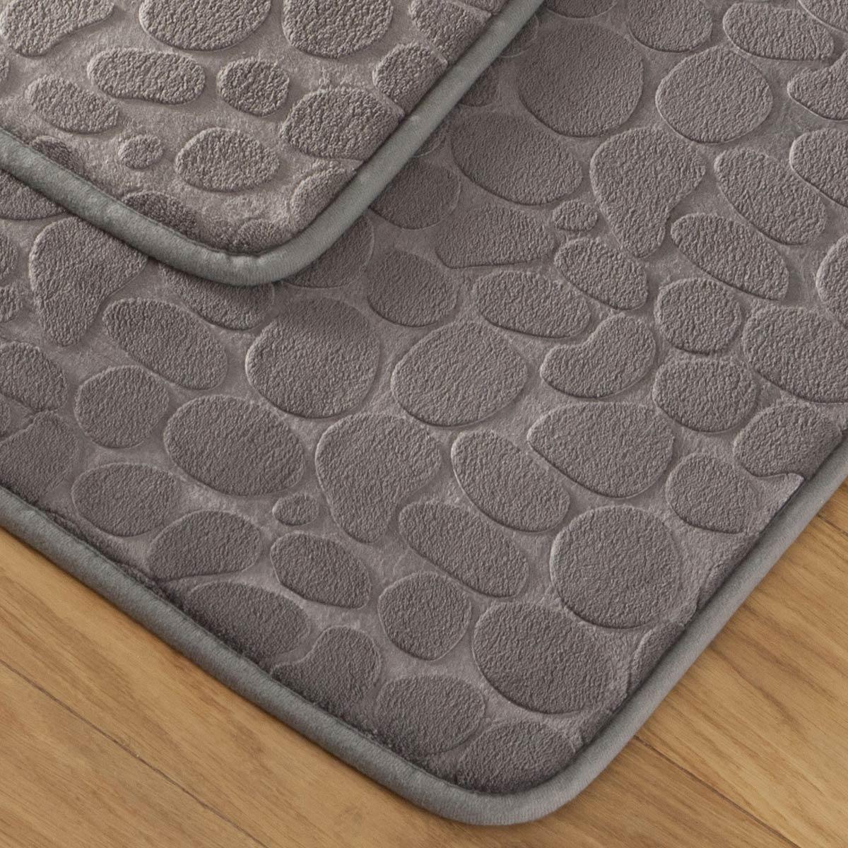 tapis bain galet gris linge de maison de qualit tradition des vosges. Black Bedroom Furniture Sets. Home Design Ideas