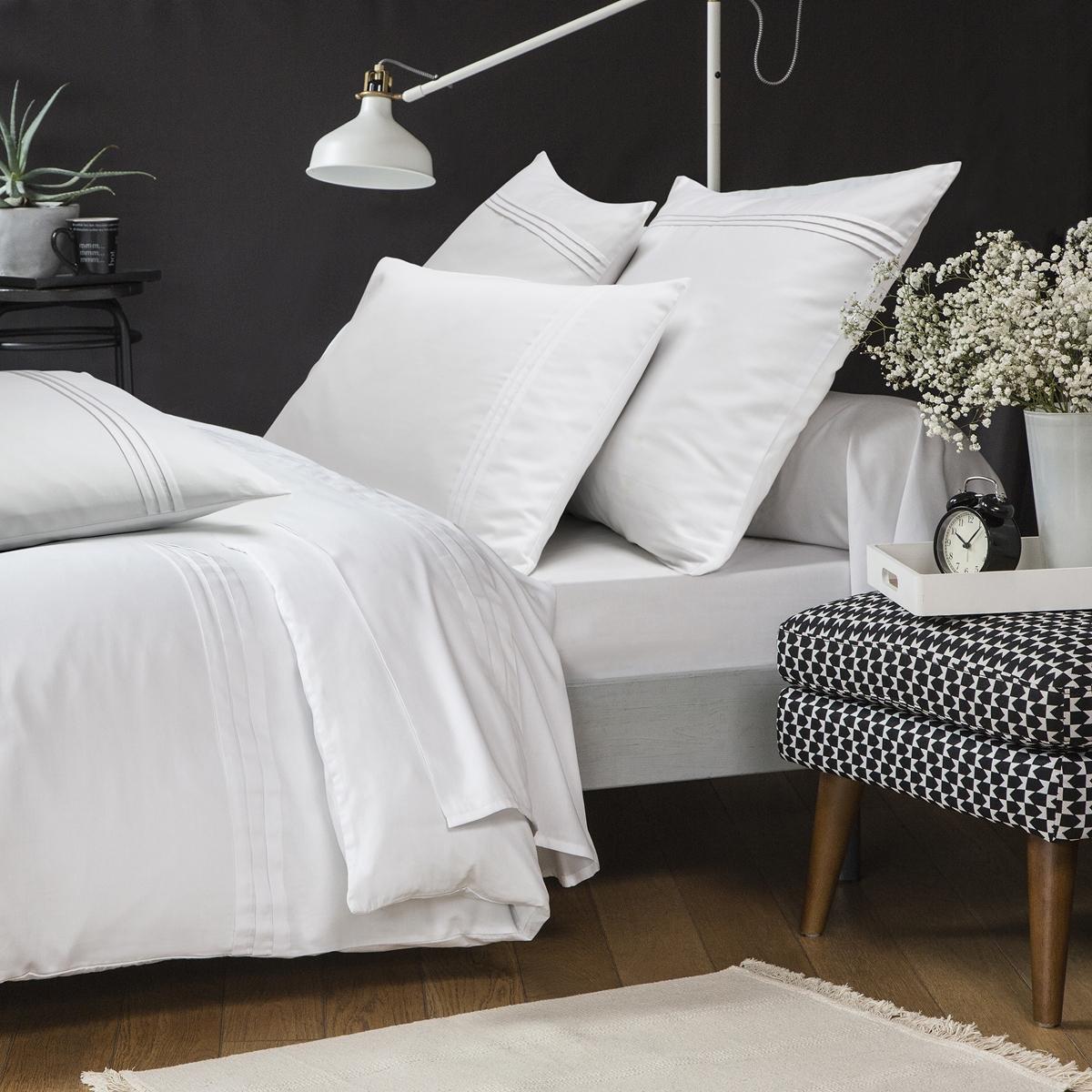 Drap plat Renaissance Blanc | Linge de lit satin de coton | Tradition des Vosges