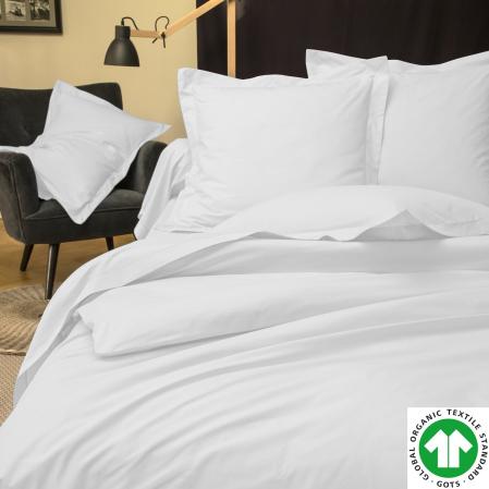 Parure de Lit Percale de coton Bio 80 fils Blanc | Percale de coton Bio | Tradition des Vosges