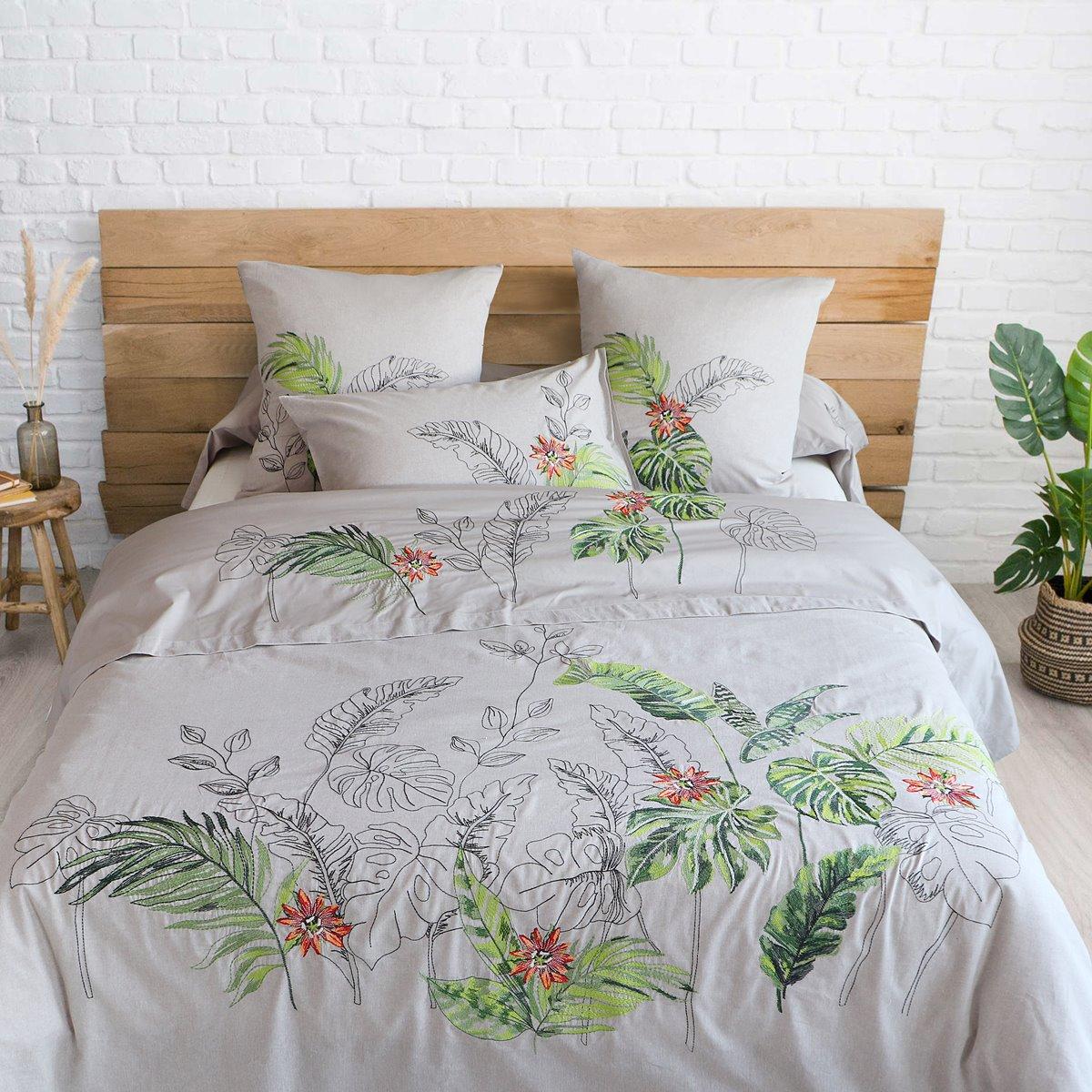 Housse de Couette brodée percale de coton 80 fils - Amazonie | Linge de lit | Tradition des Vosges