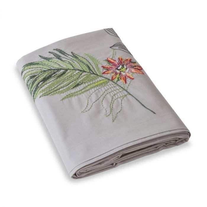 Drap plat brodé percale de coton 80 fils - Amazonie | Linge de lit | Tradition des Vosges