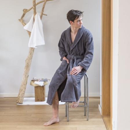 Peignoir col châle Homme Gabriel Anthracite |Peignoir velours | Tradition des Vosges