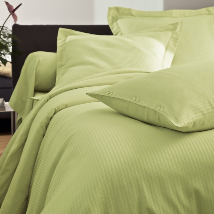 Pillowcase Satin Jacquard green | Bed linen | Tradition des Vosges
