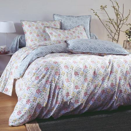Housse de Couette percale de coton 80 fils - Prairie | Linge de lit imprimé | Tradition des Vosges