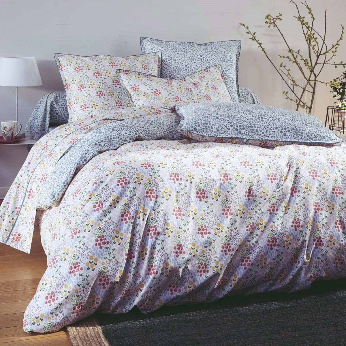 Housse de Couette percale de coton 80 fils - Prairie   Linge de lit imprimé   Tradition des Vosges