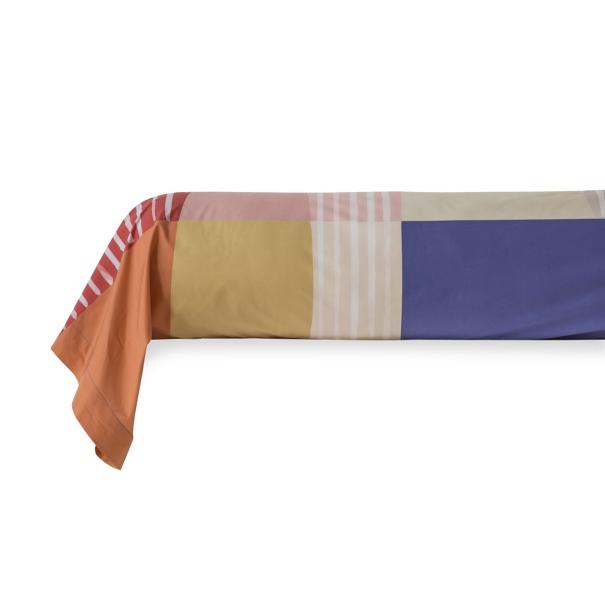 Taie de Traversin percale de coton 80 fils - Block | Linge de lit imprimé | Tradition des Vosges
