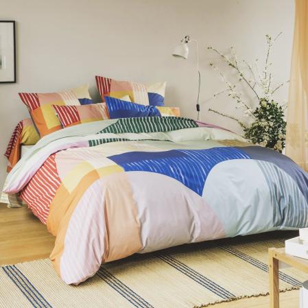 Drap-housse percale de coton 80 fils - Block | Linge de lit imprimé | Tradition des Vosges