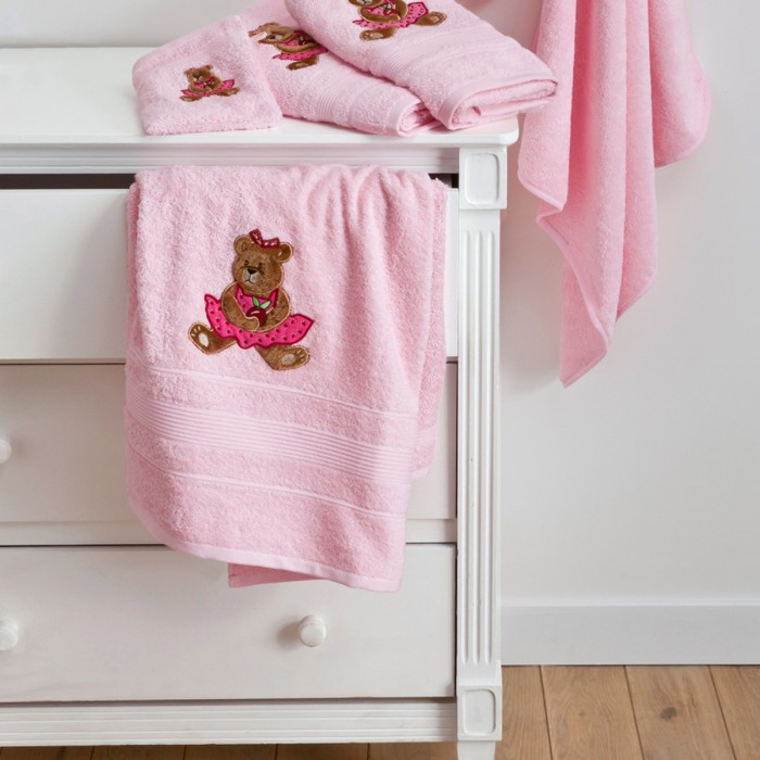 serviette toilette ourson girl serviette b b tradition des vosges. Black Bedroom Furniture Sets. Home Design Ideas